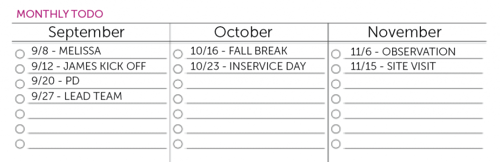 the monthly todo list time todo planner